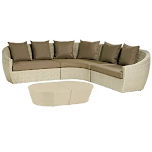 Life ravello natural modular curved corner sofa suite set for Curved sectional sofa amazon