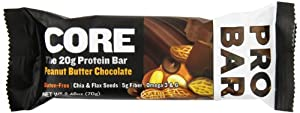 Probar Core Protein Bar, Peanut Butter Chocolate, 2.46 Ounce (Pack of 12)