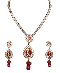 Zaveri Pearls Non-Precious Metal Gold Floral Choker Necklace Set For Women/Girls