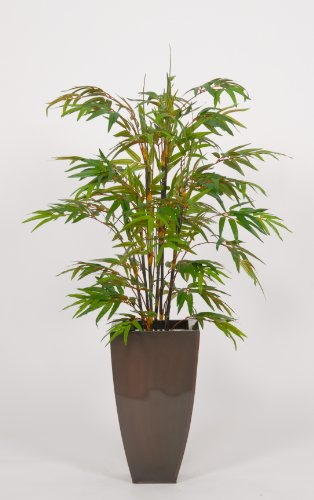 House of Silk Flowers Artificial Black Bamboo Floor Plant in Zinc 28″W x 48″H