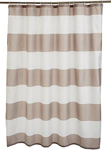AmazonBasics - Tenda da doccia in tessuto con motivo stampato a righe, 180 x 180 cm, colore: grigio