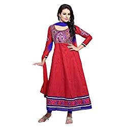 Parabdhani Fashion Women's Cotton Semi Stitched Suit (PBF_DM_249_Red_Free Size)