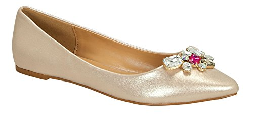 Liam-11 Women's Casual Flower Clear Beads Slip On Sweet loafer Flat Shoes Champagne 9