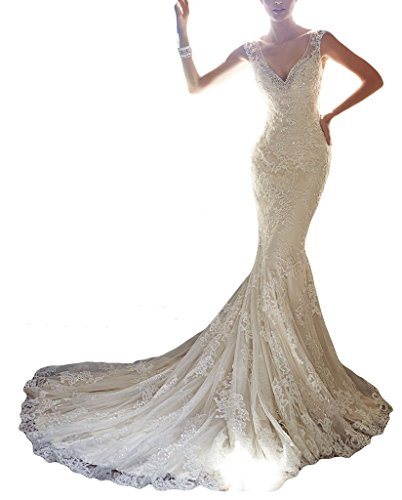 Ubridal 2016 V-neck Mermaid Lace Appliques Beaded Court Train Wedding Dress, 14, as picture