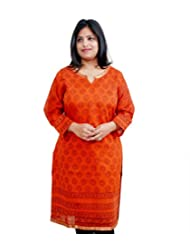Viniyog Women Hand Woven Maheshwari Cotton-Silk Hand Block Printed Orange Kurti