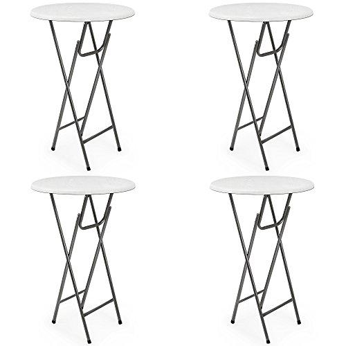 4-x-Stehtisch-Tisch-Gartentisch-Klappbar-MDF-Klapptisch-Bistrotisch-Bartisch-Wei