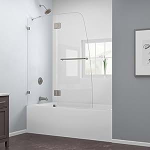 AquaLux 48 in. Frameless Hinged Tub Door, Brushed Nickel Finish
