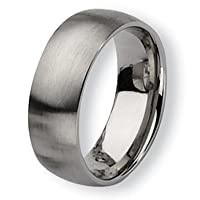 Chisel Brushed Stainless Steel Ring (8.0 mm) - Sizes 6-13