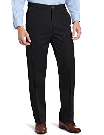 Haggar Men's Work to Weekend Hidden Expandable Waist Straight Fit Pant,Black,32x30