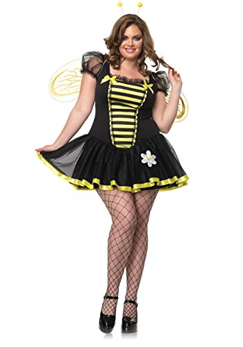 Leg Avenue Womens 3 Piece Daisy Bee Adult Plus Size Halloween Costume