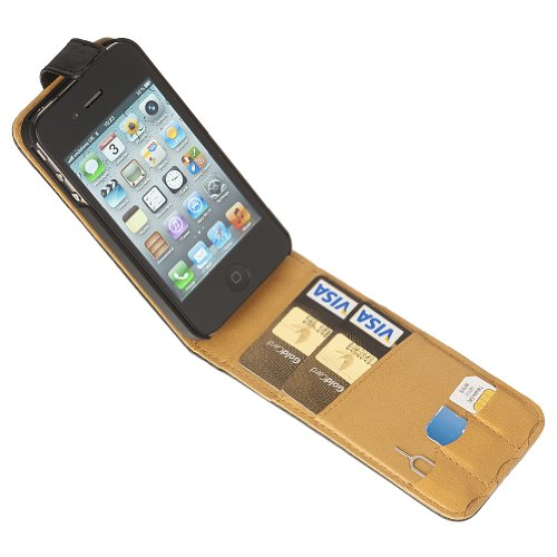 Fonerize Flip Leather Wallet / Card Case for iPhone 4 4S in Black and Tan