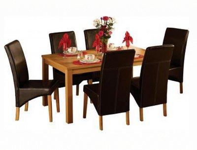 Belgravia Dining Set, Natural Oak Veneer/Expresso Brown