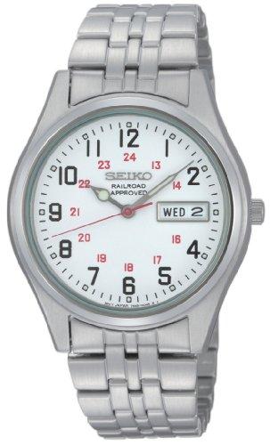 Seiko Men's SGGA59 Dress Railroad Approved Silver-Tone White Dial Watch