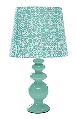 Porcelain Lamp with Paris Lamp Shade, Aqua