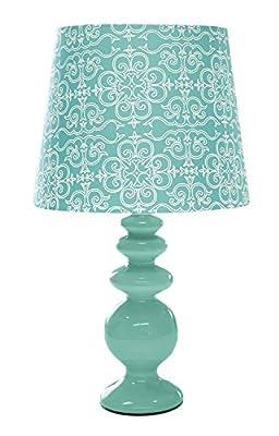 Porcelain Lamp with Paris Lamp Shade, Aqua