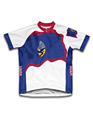 Guam Flag Short Sleeve Cycling Jersey for Women