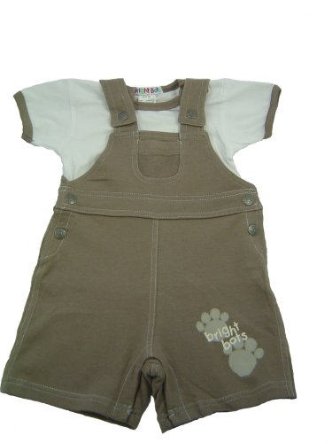 Bright Bots Puppy Story Light Brown Paw Print Baby Boy Dungaree Set 18-24 months