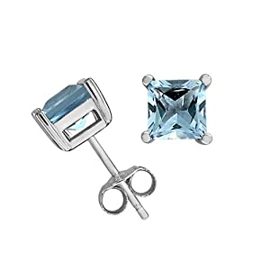 Sterling Silver 6mm Square-Cut Blue Topaz Earrings