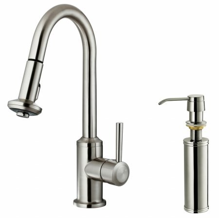 Vigo VG02012STK2 Stainless Steel Pull-Out Spray Kitchen Faucet with Soap Dispenser
