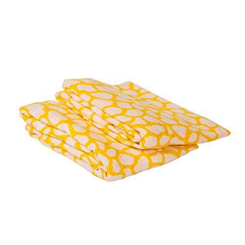 Bacati Ikat Yellow Giraffe 2 Pc Muslin Crib Sheets