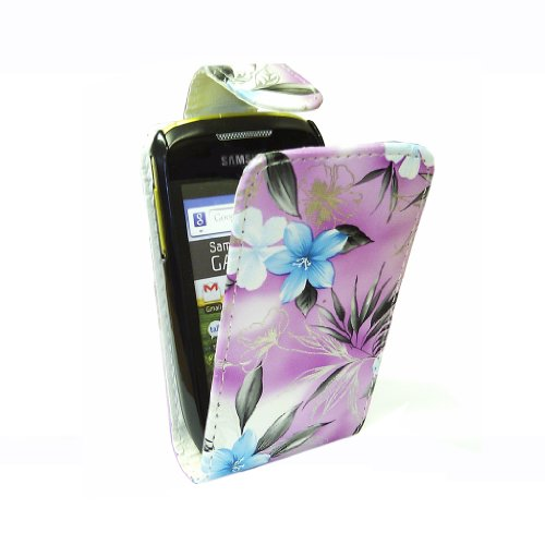 StyleBitz / Samsung Galaxy mini / S5570 / stylish purple & blue floral Stoff Flip fall / neu