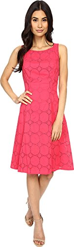 London Times Women's Circle Dot Eyelet Fit & Flare Sugar Pink Dress 8