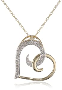 "10k Yellow Gold Diamond Heart Pendant Necklace (0.05 cttw, I-J Color, I2-I3 Clarity), 18"""