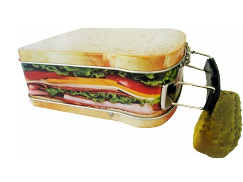"Sandwich Design Snack Box, Mini Lunchbox Cookie Tin, 4 1/2"" X 5 1/4"""