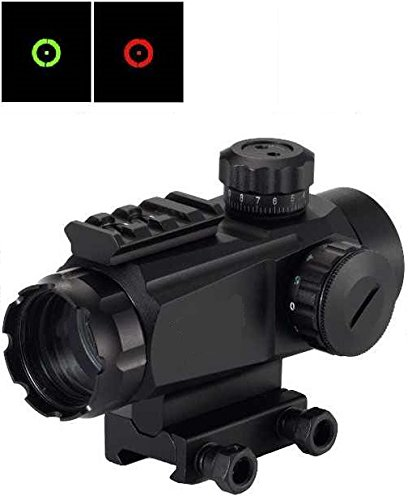 "Tactical 1X35 Red & Green Dot Open Reflex Tubeless Scope Sight Adjustable Brightness Qd Quick Detach Thumbnuts With Top Weaver Picatinny 7/8"" Shotgun Gun Rifle Pistol Mount Battery & Lens Cleaning Cloth"