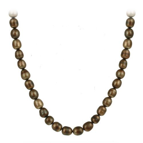 Genuine Freshwater Cultured 8x10mm Brown Pearl Necklace, 60 Inches