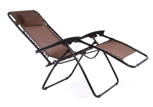 Zero Gravity Oversize Reclining Pool Patio Outdoor Lounge Chair (Dark Brown)