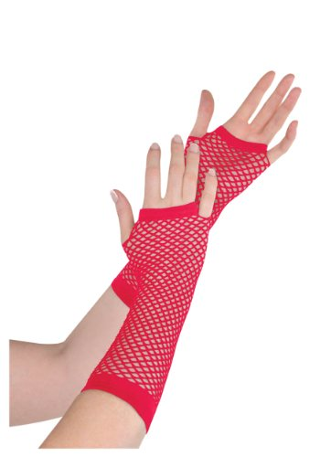 Red Fishnet Long Gloves (Standard) - 1