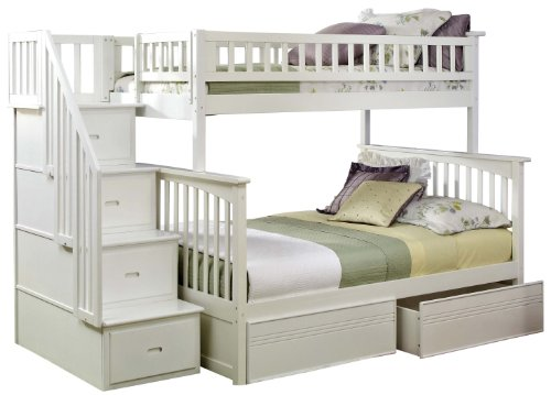 White Bunk Bed Twin Over Full 8073 front