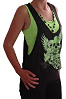 EyeCatch - Womens Graphic Forever Young Ladies Neon Beaded Skull Top