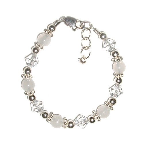 Angel Sterling Silver Childrens Girls Bracelet Childrens white jade and sparkling crystals accented with silver daisies Size Large 6-13 Years