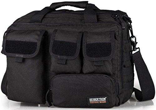 "Seibertron Pro- Multifunction Mens Military Tactical Outdoor Shoulder Messenger Bag Handbags Briefcase Large Enough for 14.1""Laptop/Sony/Canon/Nikon/Olympus/iPad nero"