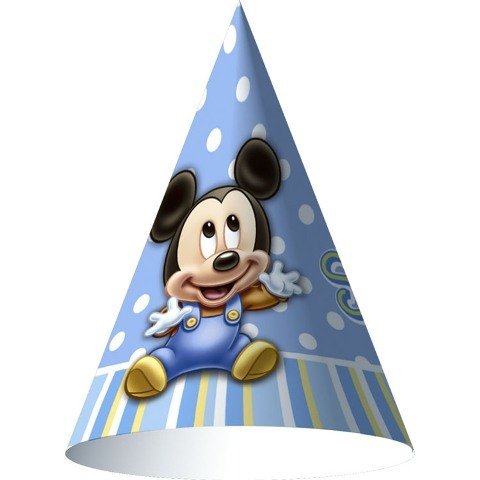Disney Mickey's 1st Birthday Cone Hats (8) - 1