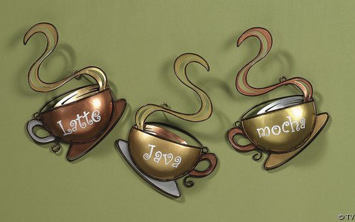Coffee Cup Latte Mocha Java Metal Wall Decor Set of 3