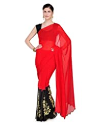 Shubham Designer Hand Embroided Pure Georgette Black And Red Colour Wedding Wear Saree