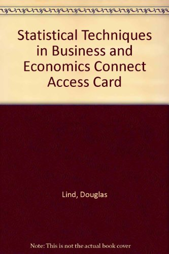Connect Access Card for Statistical Techniques in Business and Economics
