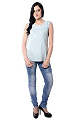 iamme Rayon Sleeveless Scoop Neck Top With Gathers