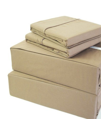 "400 Thread Count 100% Egyptian Cotton Solid Beige Twin Xxl 16"" Deep Pocket Fitted Sheet +2 Pillow Cases front-884118"