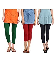 Rooliums Super Fine Cotton Lycra Womens Capri Leggings Combo Pack of 3 (Green, Red and Black) - FREE SIZE