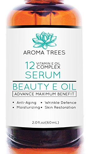 Aroma Trees Beauty Vitamin E Oil 15000 IU Serum for Face, Skin and Scars with Argan Oil, 2 Ounce
