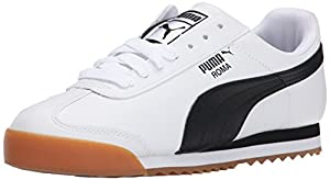 PUMA Men's Roma Basic Lace-Up Fashion Sneaker, White/Black, 11 M US