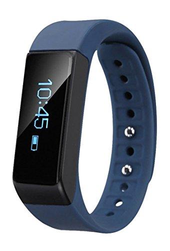 EFOSHM BLUE Wireless Activity and Sleep Monitor Pedometer Smart Fitness Tracker Wristband Watch Bracelet for Men Women Boys Girls Ladies Man Iphone Sumsung HTC (Blue)