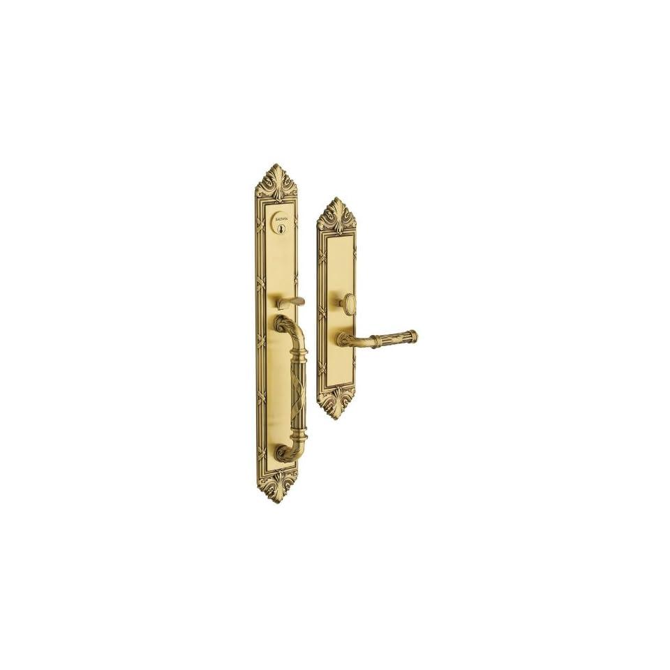 Baldwin 6952.LDBL Edinburgh Left Hand Double Cylinder Mortise Handleset Trim Set, Satin Brass and Brown