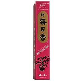 Diseño de rosa de alta calidad de incienso con forma de estrella de Nippon Kodo - varillas de incienso 50 + soporte