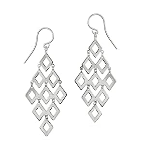Sterling Silver Large Diamond Shape of 9 Polished Open Diamond Shapes French Wire Movement Earrings