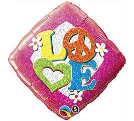 Peace Love Hippe Theme Mylar Birthday Balloon